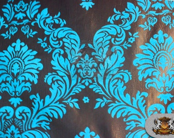 """Taffeta Damask Flocking Fabric 12 TURQUOISE / 58"""" Wide / Sold by the yard"""