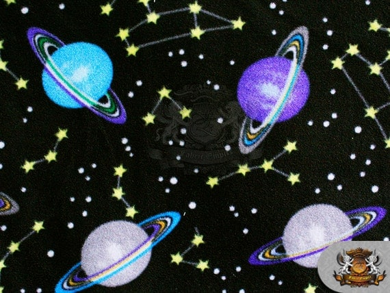 Fleece printed fabric star and planet gazing 58 wide for Space fleece fabric