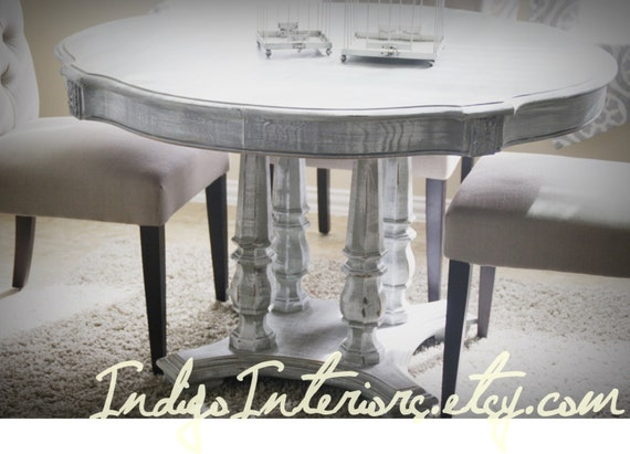 Gray White Washed Round Dining Room Kitchen Table