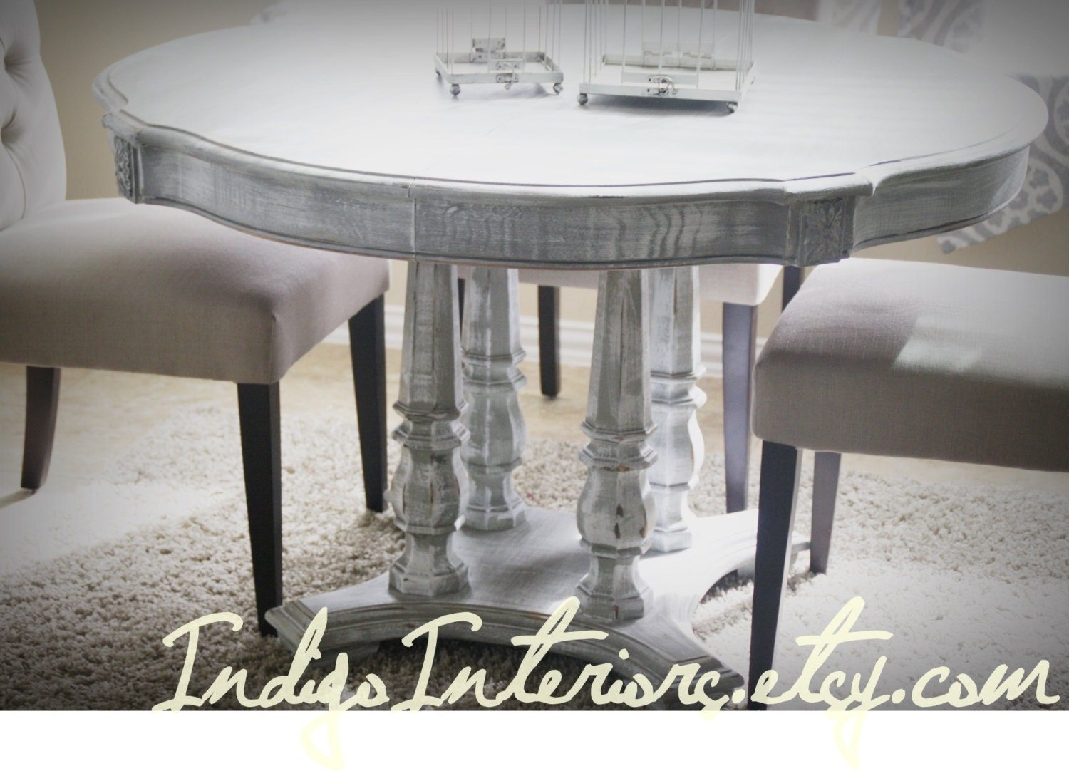 Gray white washed round dining room kitchen table for White dining room table
