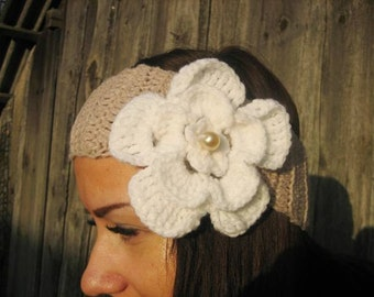 Crochet Headband Flower  Earwarmer Head Wrap Light Brown, white Flower Hat Girly Romantic,alpaca wool Headband , Valentines day gift