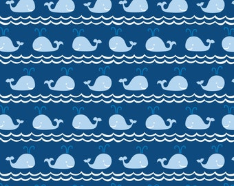 Half Yard True Blue - Rowing in Blue - Cotton Quilt Fabric - Kid's Nautical Fabric designed by Ana Davis for Blend Fabrics (W1849)