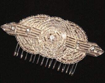 Art Deco Rhinestone Bridal Hair Comb, Great Gatsby Beaded Hair Piece, Ready to Ship, Downton Abbey Bridesmaid Head Band, Silver, Gold, Black