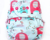 Pink Elephants - All In Two (AI2) Cloth Diaper - One Size Fits Most Babies