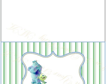 Food tent card, Buffet Labels Monsters Mike and Sallivan - tent card - table card