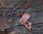 Hand Stamped Copper Louisiana Necklace - LSU - Cajun Pride