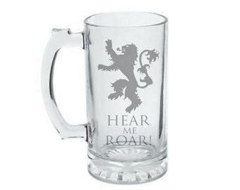 House Lannister Mug - HEAR ME ROAR - Game of Thrones Mug - House of Lannister Beer Mug - House of Lannister Crest - Lannister Sigil