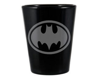 Black Batman Shot Glass - Custom Shot Glass - Etched Batsignal Glass - Black Shot Glass