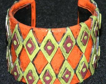 Cuff Bracelet Bangle Distressed Boho Polymer Clay Jewelry RHOMBUS13 by ArtCirque Donna Pellegata