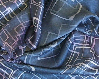 Hand Dyed Satin Silk Scarf - Squares in Grays, Steel Blue, Navys, Mauves, Pink and White (11x60 inches) by Laura Elderton