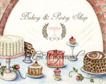 Bakery Pastry Shop  - Watercolor - Artist Print - Digital