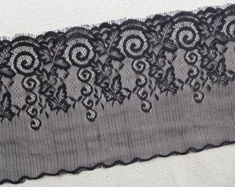 Black Lace Trim Fabric, 3 Yards Black Eyelash Lace for Weddings, Shawl, Cuffs, Masquerade Mask, Costumes