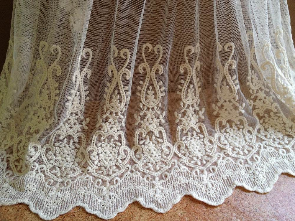 Lace fabric ivory cotton embroidered vintage