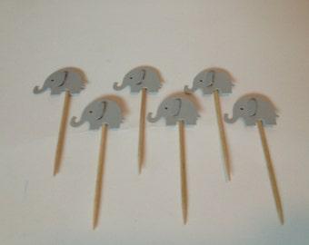 Grey Elephant mini food picks, set of 12