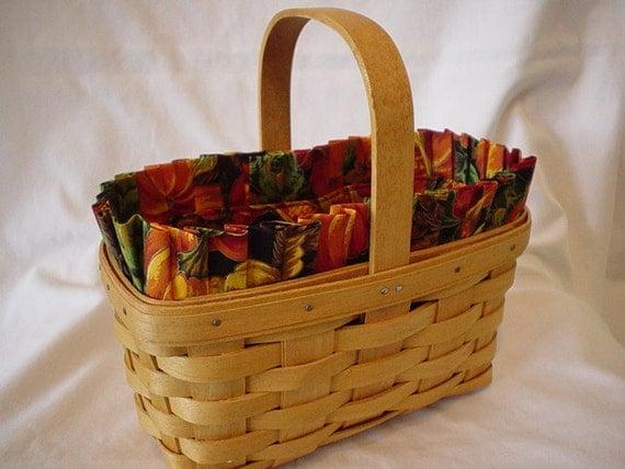 Handmade Longaberger Basket Liners : Custom harvest basket liner for longaberger candle