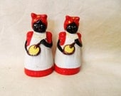 Vintage Black Americana- Aunt Jemima Salt & Pepper Shakers- Original Stoppers- Colorful- Exceptionally Cute Faces- Country Chic Decor- Mammy