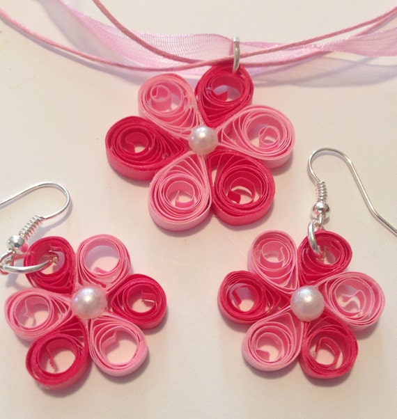 Jewelry set quilling jewelry quilling necklace quilling for Quilling kitchen set