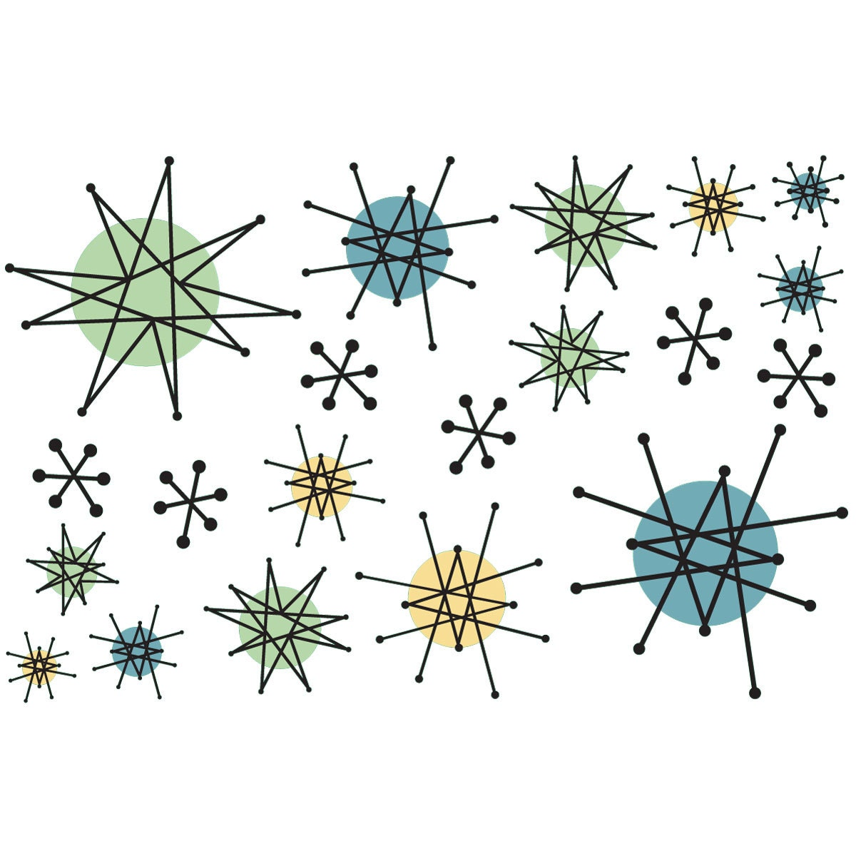 Name Stickers For Walls Atomic Starburst Vinyl Sticker Sheet Of 20 47459
