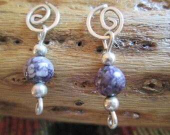 Charoite Sterling Earrings