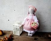 Rabbit art cloth doll Pinky. Stuffed animals. Artist Teddy Bears. Soft Sculpture. Unique Toy. Tilda doll