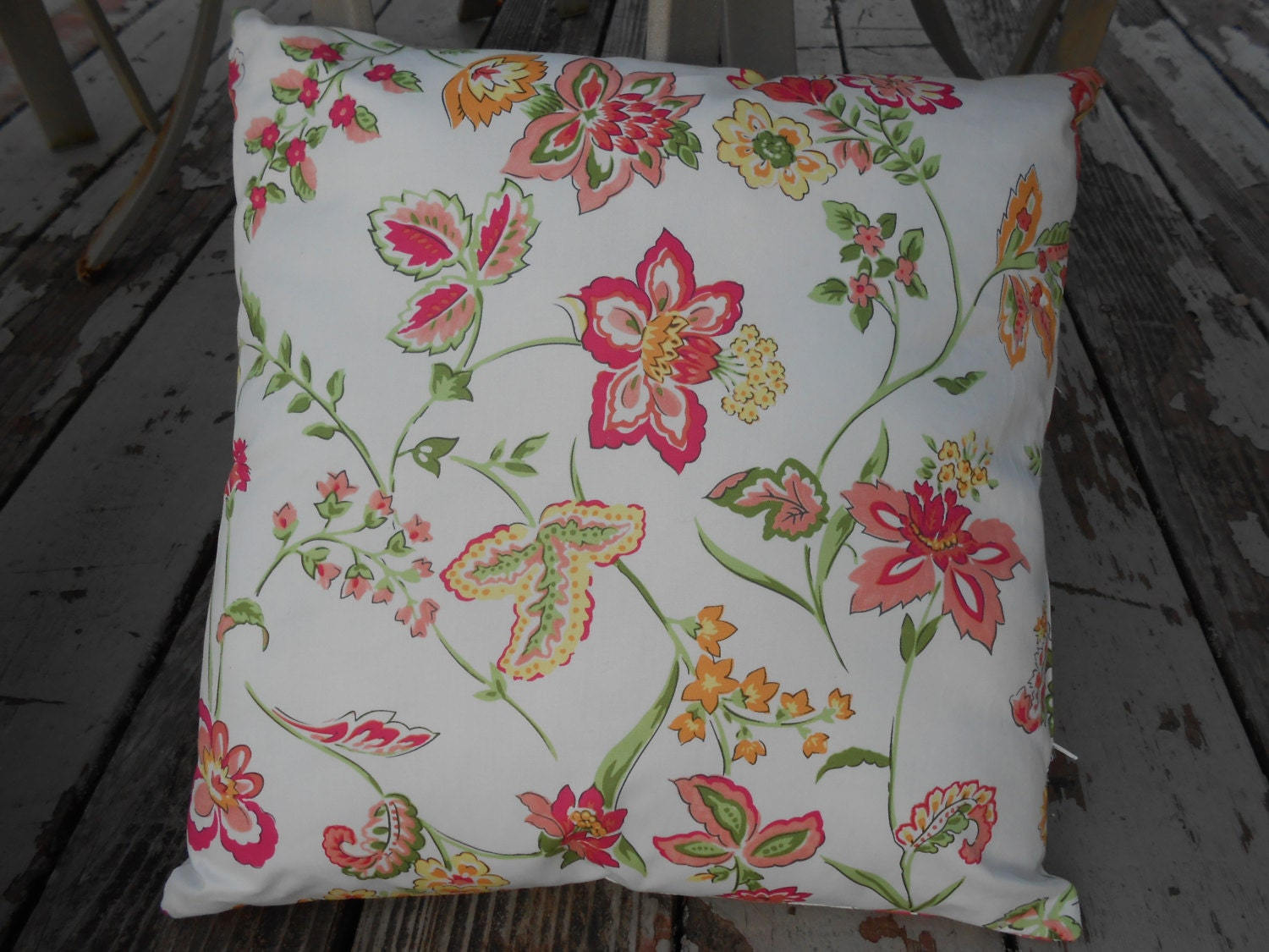 Throw Pillow Form Insert : Floral Throw or Decorative Pillow with Cover and Insert/Form