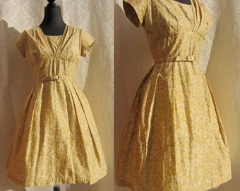 Vintage 50's Yellow Floral Day Dress w/ Belt - Very Mad Men/ Betty Draper