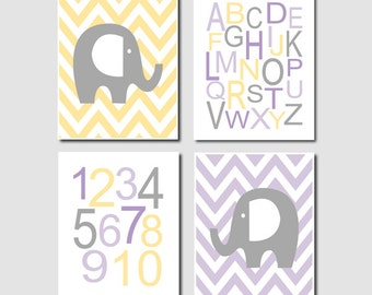Elephant Nursery WALL Art Alphabet Numbers Lavender Gray Yellow Set of 4 Prints or CANVAS Baby Girl Nursery Decor Girl Wall Art Picture