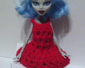 Hand Crocheted to fit a Monster High Doll (this is not a Mattel product), Clothes, Nightgown, Dress, Red, Ghoulia Yelps Inspired