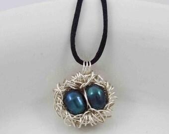 2 Egg Nest Necklace, Wire Bird Nest Necklace, Bird Nest Necklace, Pearl Nest Necklace, Green Egg Necklace, Robin Egg Nest, Mother's Nest