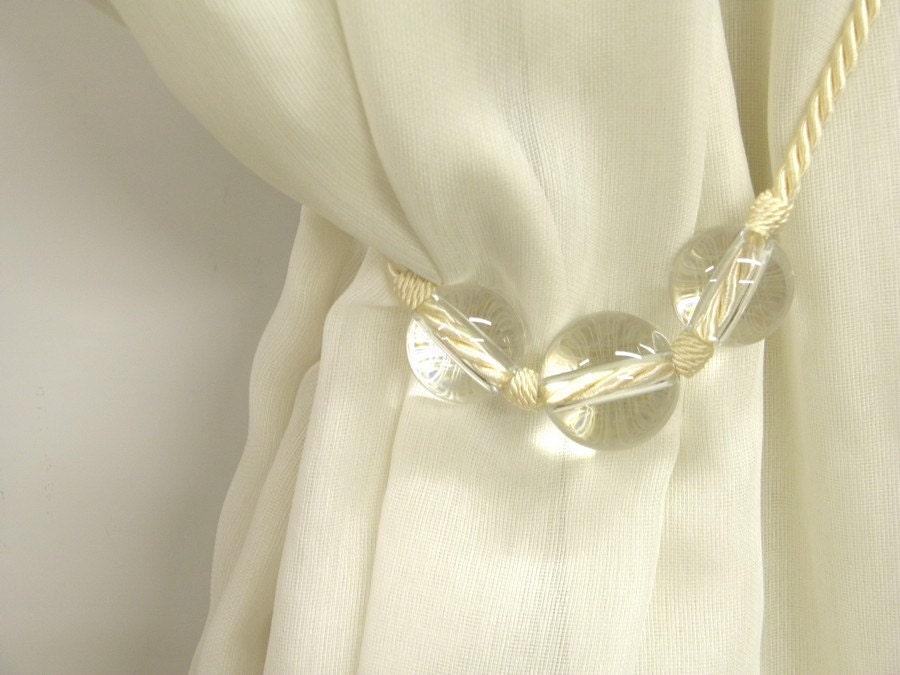 modern curtain tieback drapery glass passementerie ecru white. Black Bedroom Furniture Sets. Home Design Ideas