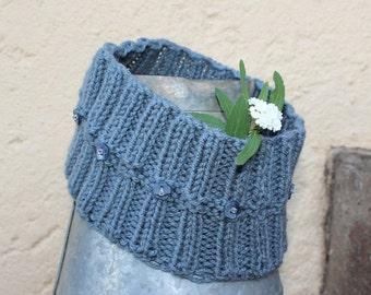 Hippie head-band,Gray ear warmer , Knit ear warmer , Knit head-band , Hair accessory , Boho headband , Winter headband.