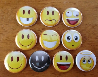 Emoticons Buttons Set of 10 - Pinback Buttons 1 Emoticons, Funny Buttons, Retro Emoticons, Emoji