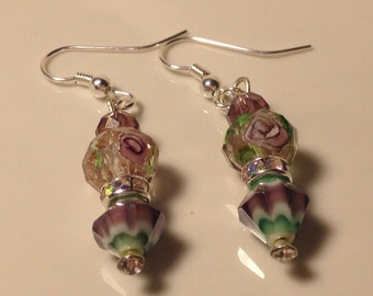 Green, Purple and Silver Beaded Earrings