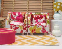 Red and White Flowered Barbie Chair