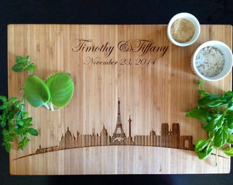 Personalized Cutting Board! Paris Skyline with Eiffel Tower