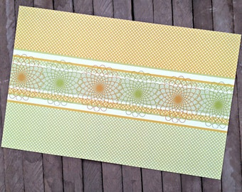 Everyday Paper Placemats in Pale Yellow and Green - Set of 8