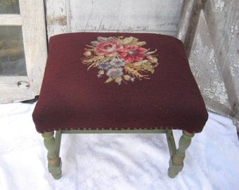 Vintage needlepoint bench, piano bench, eggplant, moss green and gold legs, distressed decorative bench