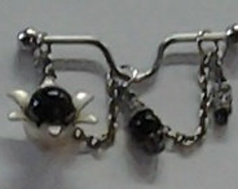 Black beaded chained u bent bar industrial