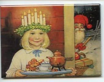 Swedish artist,  Helge Artelius Magnet #REM160 Lucia & Tomtar Santa Gnome