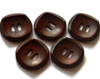 5 Large Dark Brown Wooden Buttons 30mm Natural Round 2 holes Inner Square Shape Button - NW30