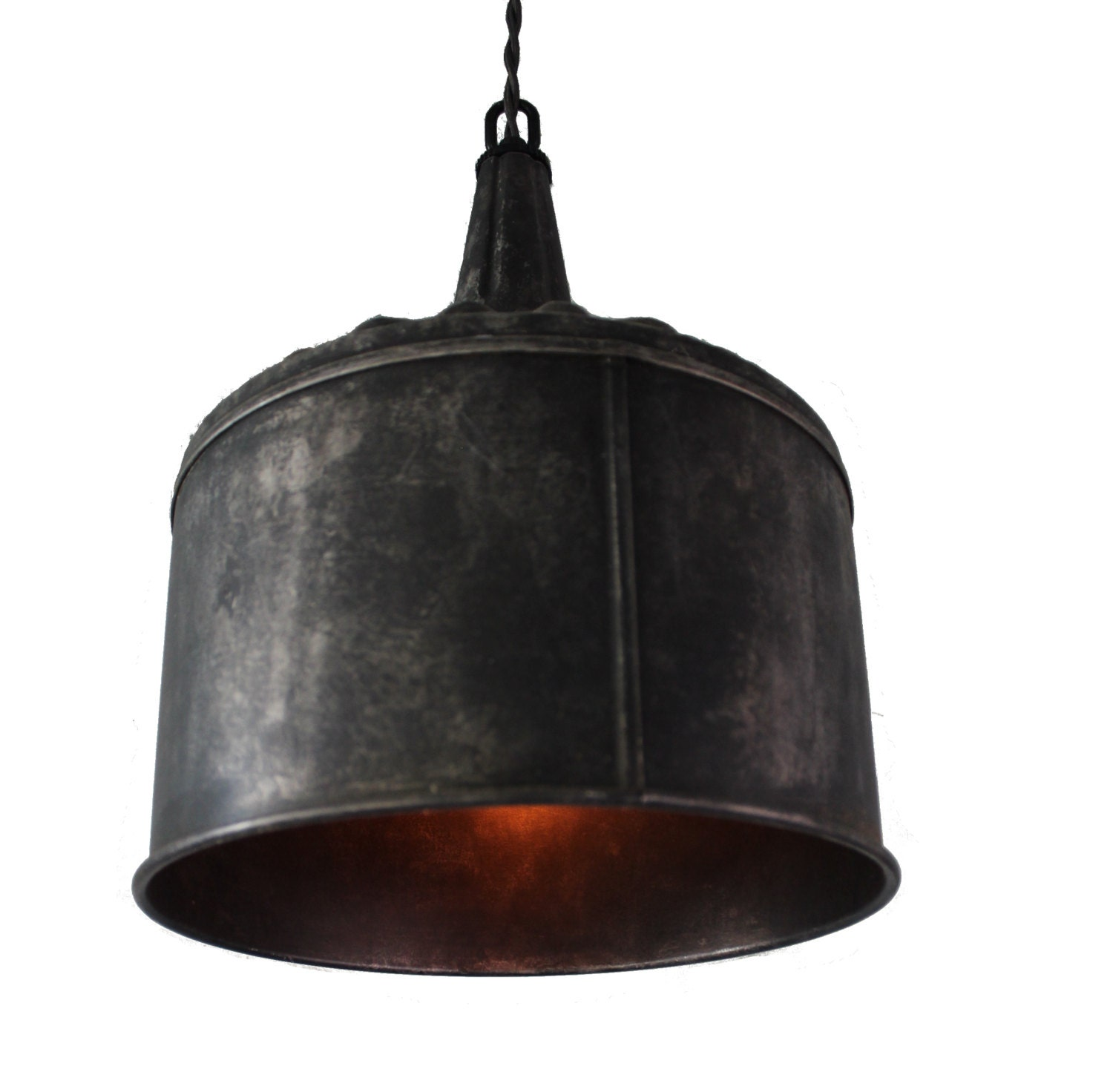 Items Similar To Galvanized Light Rustic Industrial: Large Funnel Pendant Light In Black Steel Or Galvanized Aged