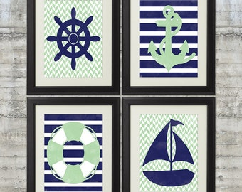 Nautical Nursery Art Printables in Mint and Navy, Set of 4 - 8x10 Printable Posters