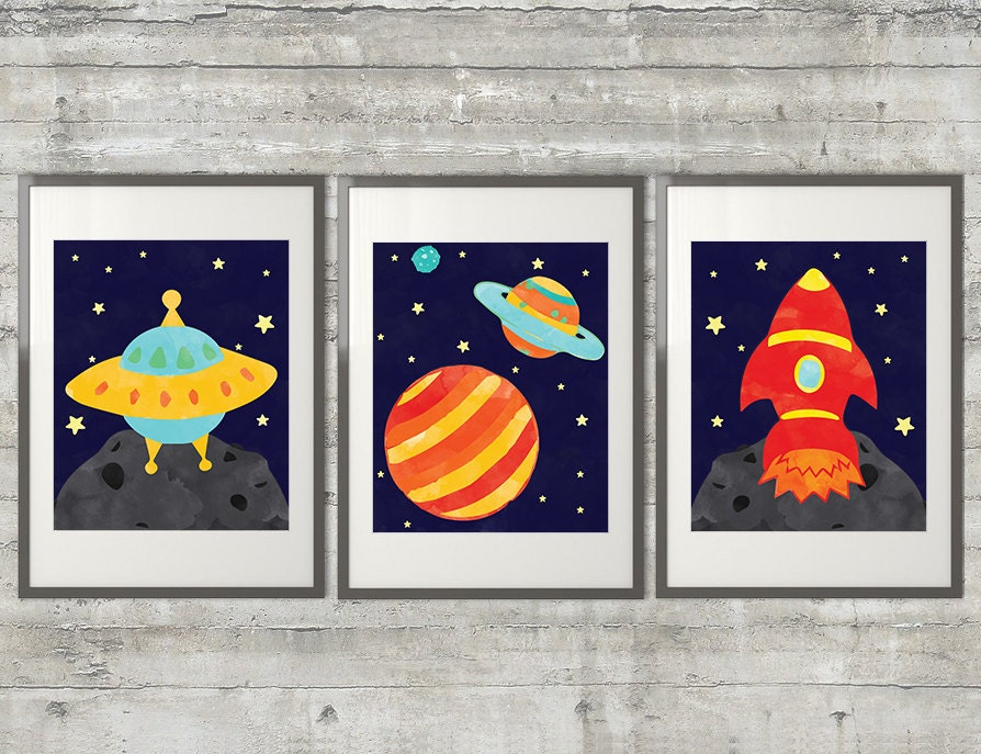 Outer Space Nursery Art Set Of 3 8x10 Prints Featuring A