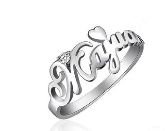 custom name ring,custom silver ring.Personalized ring