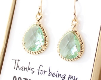 Prasiolite Green / Gold Rope Rim Bridesmaid Earrings - Light Green Pale Green, Moss, Sage, Lucite, Erinite Earing - Bridesmaid Jewelry - ER1