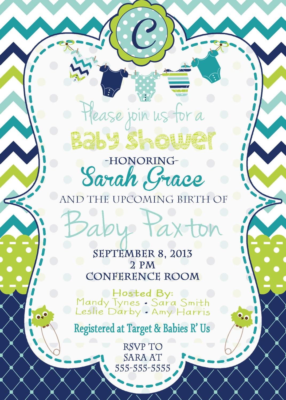 Baby Shower For Boy Invitation ~ Baby boy shower invitation blue