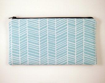 Blue Herringbone Zipper Pouch, Make Up Bag, Pencil Pouch, Gadget Bag
