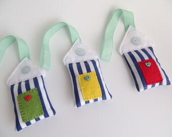 Nautical Lavender filled hanging beach huts