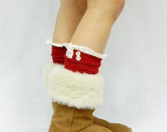 Boot Socks with Lace Top - Red Woven