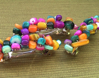 2 Colorful Stone Hair Clips.